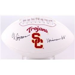 O. J. Simpson Signed USC Trojans Logo Football Inscribed  Heisman 68'  (JSA COA)