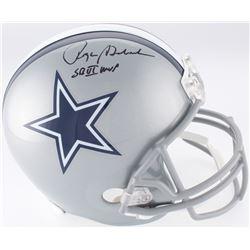 """Roger Staubach Signed Dallas Cowboys Full-Size Helmet Inscribed """"SB VI MVP"""" (JSA COA)"""