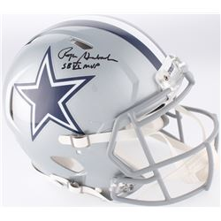 """Roger Staubach Signed Dallas Cowboys Cowboys Full-Size Authentic On-Field Speed Helmet Inscribed """"SB"""