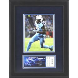 """Derrick Henry Signed Titans 16x21 Custom Framed Ticket Display Inscribed """"Ticket To My First TD"""" (Ra"""