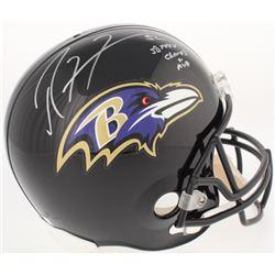 "Ray Lewis Signed Ravens Full-Size Helmet Inscribed ""SB XXXV Champs  MVP"" (Radtke COA)"