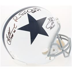Michael Irvin, Emmitt Smith  Troy Aikman Signed Cowboys Full-Size Helmet with (3) Career Stat Inscri