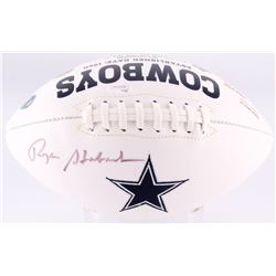 Roger Staubach Signed Cowboys Logo Football (JSA COA)