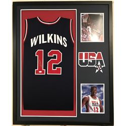 Dominique Wilkins Signed 34x42 Custom Framed Jersey (JSA COA)