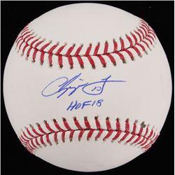 """Chipper Jones Signed OML Baseball Inscribed """"HOF 18"""" (JSA COA)"""
