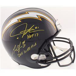 "Melvin Gordon  LaDainian Tomlinson Signed Chargers Full-Size Throwback Helmet Inscribed ""HOF 17""  ""2"