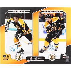 "Patrice Bergeron  Phil Esposito Signed Boston Bruins ""Legacy Collection"" 16x20 Photo (JSA COA  Berge"