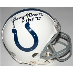 "Lenny Moore Signed Colts Mini Helmet Inscribed ""HOF 75"" (JSA COA)"