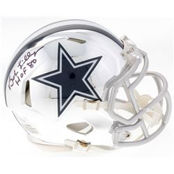 "Bob Lilly Signed Cowboys Mini Chrome Speed Helmet Inscribed ""HOF 80"" (JSA COA)"