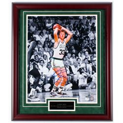 Larry Bird Signed Celtics 27x23 Custom Framed Photo Display (JSA COA)