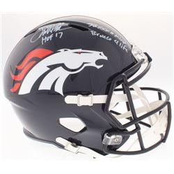 "Terrell Davis Signed Broncos Full-Size Speed Helmet Inscribed ""SB XXXII MVP"", ""Bronco 4 Life""  ""HOF"