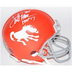 "Terrell Davis Signed Broncos Throwback Mini Helmet Inscribed ""HOF 17"" (Radtke COA)"