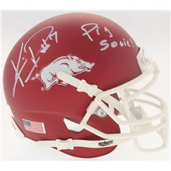 "Knile Davis Signed Arkansas Razorbacks Matte Red Mini Helmet Inscribed ""Pig Sooie!"" (Radtke COA)"