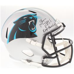 "Thomas Davis Signed Panthers Full-Size Speed Helmet Inscribed ""Keep Pounding!"" (JSA COA)"