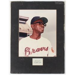 "Satchel Paige Signed Braves 11.25x15 Custom Matted Cut Display with Photo Inscribed ""From"" with Phot"