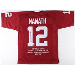 Joe Namath Signed Career Highlight Stat Jersey (AI Verified COA  Namath Hologram)