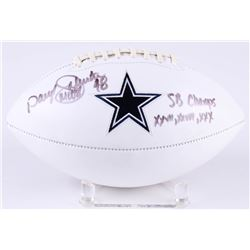 "Daryl ""Moose"" Johnston Signed Cowboys Logo Football Inscribed ""SB Champs XXVII, XXVIII, XXX"" (Radtke"
