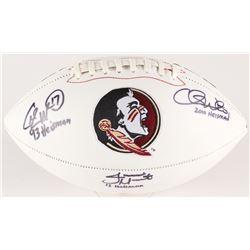 Charlie Ward, Chris Weinke  Jameis Winston Signed Florida State Seminoles Logo Football with (3) Hei