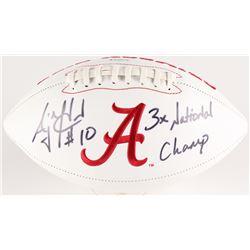 "AJ McCarron Signed Alabama Crimson Tide Logo Football Inscribed ""3x National Champ"" (Radtke Hologram"