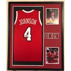 Larry Johnson Signed 34x42 Custom Framed Jersey (PSA COA)