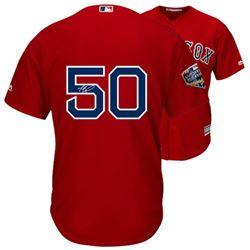 Mookie Betts Signed Red Sox World Series 2018 Majestic Jersey (Fanatics Hologram)