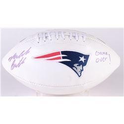"""Malcom Butler Signed Patriots Logo Football Inscribed """"Game Over!"""" (Radtke Hologram)"""