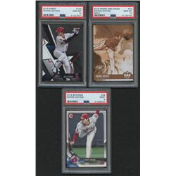 Lot of (3) PSA Graded Shohei Ohtani Rookie Cards with 2018 Diamond Kings Sepia Variations #73 (PSA 1