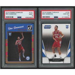 Lot of (2) PSA Graded Ben Simmons Basketball Cards with 2016-17 Donruss #151 RC (PSA 9)  2016-17 Pan