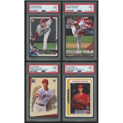Lot of (4) PSA Graded 9 Shohei Ohtani Rookie Cards with 2018 Bowman #49 RC, 2018 Topps Now #210, 201