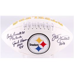 Andy Russell, Jack Ham,  Jack Lambert Signed Pittsburgh Steelers Logo Football with (3) Inscriptions