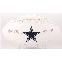 "Bob Lilly Signed Dallas Cowboys Logo Football Inscribed ""HOF 1980"" (JSA COA)"