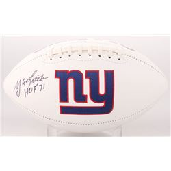 "Y. A. Tittle Signed New York Giants Logo Football Inscribed ""HOF 71"" (JSA COA)"