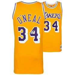 Shaquille O'Neal Signed Mitchell  Ness 1996-97 Los Angeles Lakers Jersey (Fanatics Hologram)