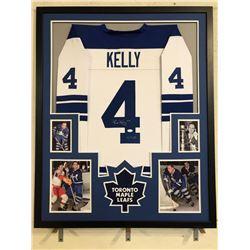 """Red Kelly Signed 34x42 Custom Framed Jersey Inscribed """"HOF 69"""" (JSA COA)"""