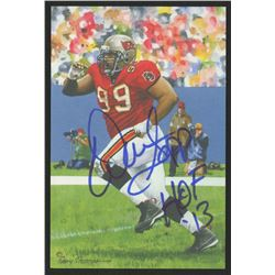 Warren Sapp Signed 2013 LE Tampa Bay Buccaneers 4x6 Pro Football Hall of Fame Art Collection Card In