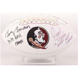"Jimbo Fisher  Bobby Bowden Signed Florida State Seminoles Logo Football Inscribed ""93, 99  Natl Cham"