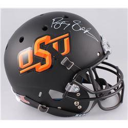 Barry Sanders Signed Oklahoma State Cowboys Full-Size Matte Black Helmet (Schwartz Sports Hologram)