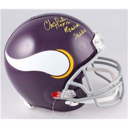 "Chris Doleman Signed Minnesota Vikings Full-Size Throwback Helmet Inscribed ""#CancerSucks""  ""HOF 12"""