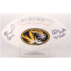 "Michael Sam Signed Missouri Tigers Logo Football Inscribed ""123 Tackles""  ""21 Sacks"" (Radtke COA)"