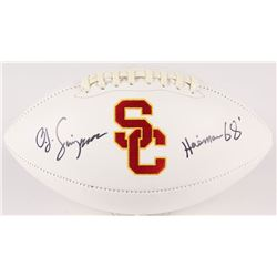 "O. J. Simpson Signed USC Trojans Logo Football Inscribed ""Heisman 68'"" (JSA COA)"