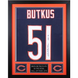 "Dick Butkus Signed 24x30 Custom Framed Jersey Inscribed ""HOF 79"" (JSA COA)"