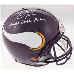 "Randy Moss Signed Minnesota Vikings Full-Size Authentic On-Field Helmet Inscribed ""Straight Cash Hom"