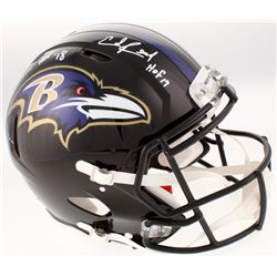 "Ray Lewis  Ed Reed Signed Baltimore Ravens Full-Size Authentic On-Field Speed Helmet Inscribed ""HOF"