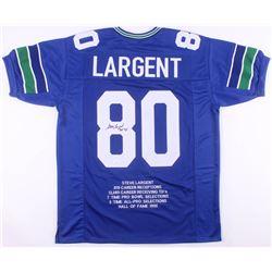 """Steve Largent Signed Career Highlight Stat Jersey Inscribed """"HOF 95"""" (JSA COA)"""