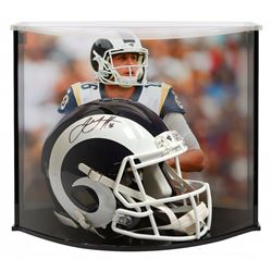 Jared Goff Signed Los Angeles Rams Full-Size Authentic On-Field Speed Helmet with Curve Display Case