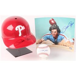 Lot of (3) Pete Rose Signed Items with (1) OML Baseball, (1) 8x10 Photo,  (1) Batting Helmet (Fiterm