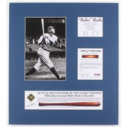 Babe Ruth New York Yankees 18x20 Custom Matted Game-Used Authentic Bat Piece Display