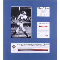 Babe Ruth New York Yankees 18x20 Custom Matted Game-Used Authentic Bat Piece Display (PSA LOA Copy)