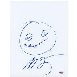 Michael Dougherty Signed 8.5x11 Cut with Original Sketch (PSA COA)
