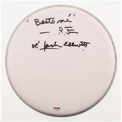 """Ramblin' Jack Elliott Signed 10"""" Drumhead Inscribed """"Beats Me""""  """"Ol' Jack Elliott"""" (PSA COA)"""